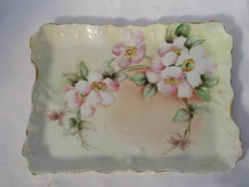 antique Germany hand-painted wild rose china vanity table perfume tray