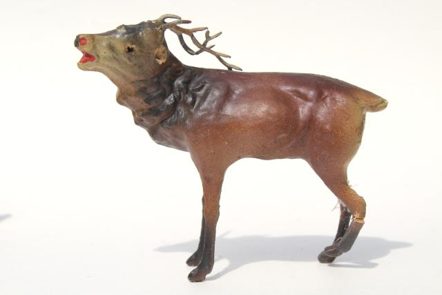 antique Germany papier mache composition elk deer or reindeer, Christmas putz scene figures