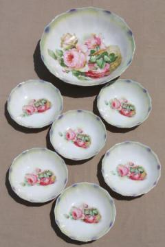 antique Germany rose basket flowered china berry bowls set, early 1900s vintage