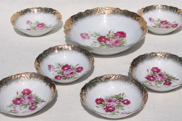 Antique Germany Rose Painted China Fruit Salad Bowls
