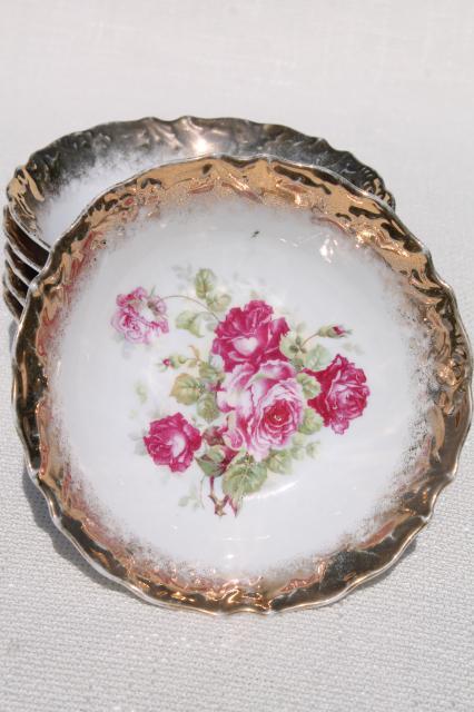 antique germany rose painted china fruit salad bowls. Black Bedroom Furniture Sets. Home Design Ideas