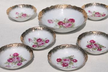 antique Germany rose painted china fruit salad bowls, berry set or dessert dishes