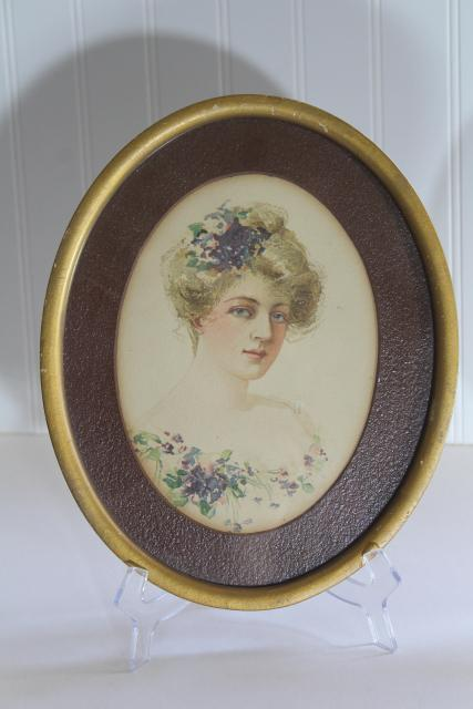 antique Gibson girl style lady portrait prints in period vintage oval frames