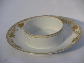 antique Hand Painted Nippon mark, early 1900s vintage china server w/ gold moriage