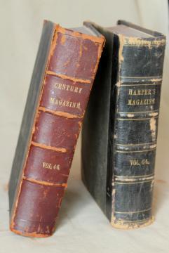 antique Harper's & Century magazines, bound magazine issues 1880s 1890s