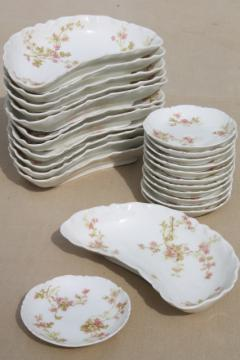 antique Haviland Limoges china butter pats & crescent shape side plates plates for 12