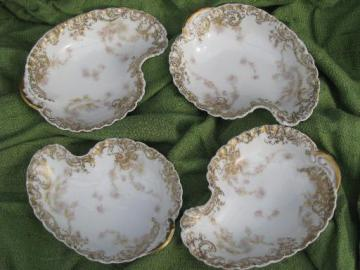 antique Haviland Limoges china crescent side plates, salad or bone dishes