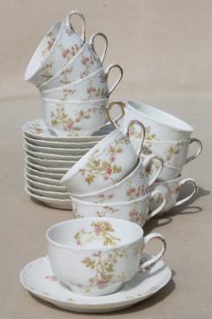 antique Haviland Limoges china cups & saucers set for 12, scalloped edge porcelain, pink floral