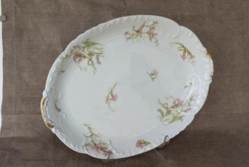 antique Haviland Limoges china platter or tray, pink flowers & lily of the valley