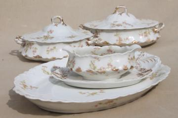 antique Haviland Limoges china serving pieces, tureen, covered bowl, platter etc.