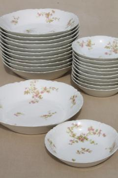 antique Haviland Limoges china soup bowls & dessert bowl fruit / sauce dishes