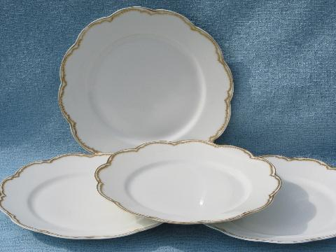 & antique Haviland Limoges french white porcelain plates circa 1915