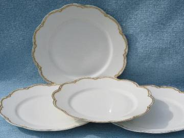 antique Haviland Limoges french white porcelain plates, circa 1915