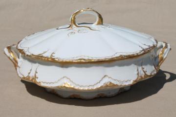 antique Haviland Limoges gold & white porcelain tureen or covered bowl, circa 1903