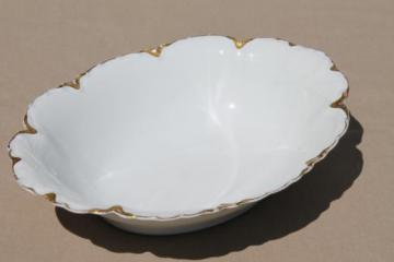 antique Haviland - Limoges oval bowl, pine flower embossed china w/ gold trim