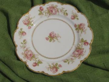 antique Haviland Limoges porcelain plate, scalloped border, large roses