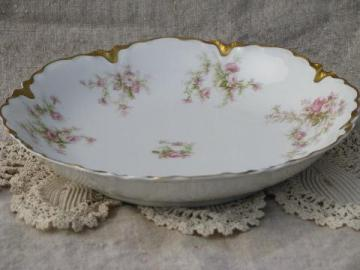 antique Haviland Limoges porcelain vegetable bowl, pink floral/gold