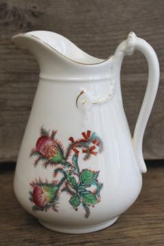 antique Haviland moss rose pattern pitcher, large creamer w/ embossed rope knot shape
