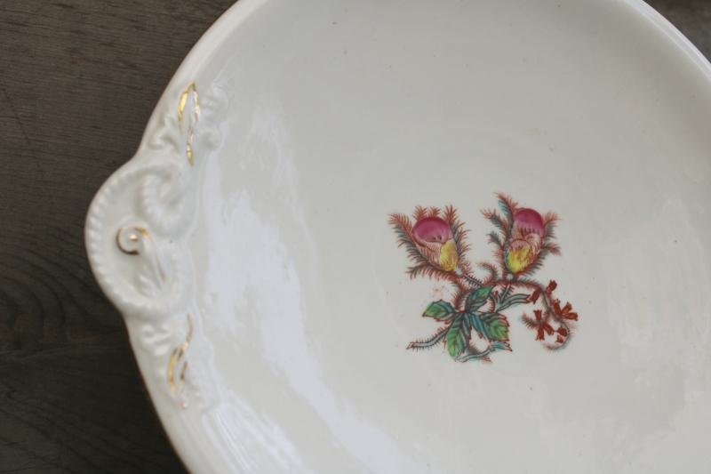 antique Haviland moss rose pattern tray or serving plate, embossed rope knot shape