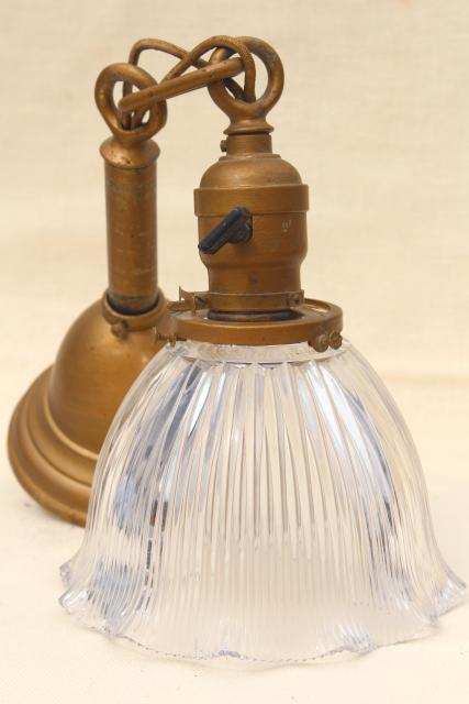 antique Holophane shade pendant light w/ early electric socket, all original vintage lighting