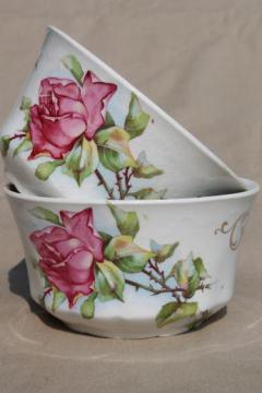 antique Homer Laughlin china cranberry bowls w/ large pink tea rose