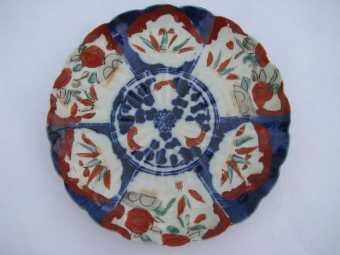 & antique Imari pattern red u0026 blue handpainted porcelain plate unmarked