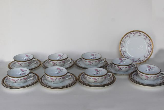 antique Imperial Austria porcelain tea cup / plate trios for 8, Alma rose floral band