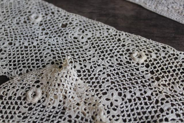 antique Irish crochet lace sewing trims, dress collars & lace edgings early 1900s vintage