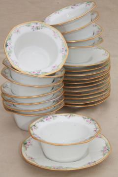 antique Jean Pouyat Limoges china soup cups or custard bowls w/ saucers, vintage 1908