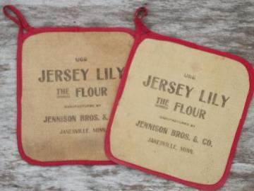 antique Jersey Lily flour advertising, vintage red & white cotton potholders