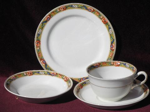 & antique Johnson Bros china for 6 oriental floral on mustard gold