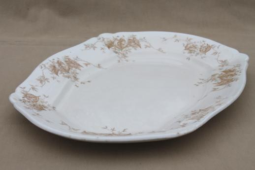 antique Johnson Bros. china platter, brown leaves & flowers in palest blue