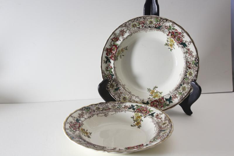 antique Keeling Stirling china, multi colored flowers bowls marked Alfred Pearce Ludgate Hill