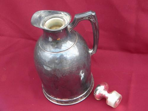 antique Landers,Frary and Clark silver thermos pitcher mercury glass stopper