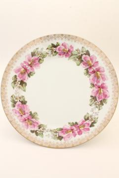 antique Limoges France large charger plate or shallow bowl w/ rose pink French floral