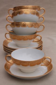 antique Limoges china boullion cups or cream soup bowls w/ encrusted gold, vintage 1913