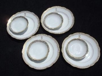 antique Limoges china bread plates and butter pats, white w/ gold S monogram