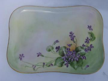 antique Limoges china vanity perfume tray, hand-painted violets, dated 1909