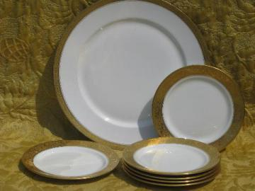 antique Limoges french china dessert set, encrusted gold plates and tray