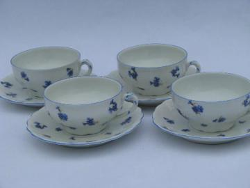 antique Ludwigsburg porcelain cups & saucers, ornate white w/ blue cornflowers