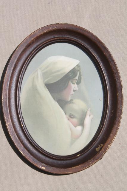 antique madonna mother child baby infant print in old oval frame vintage 1900