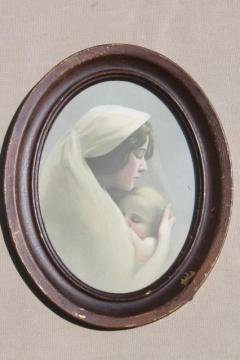 antique Madonna, mother & child baby infant print in old oval frame vintage 1900