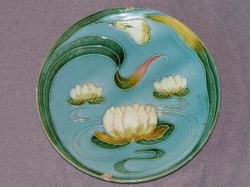 antique Majolica pottery plate, water lilies