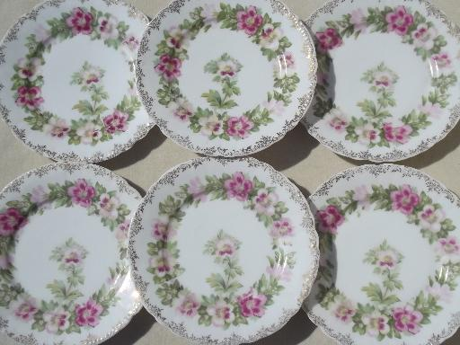 & antique Malmaison Rosenthal Bavaria china plates mallow pink floral
