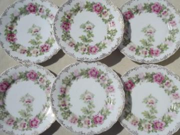 antique Malmaison Rosenthal Bavaria china plates, mallow pink floral
