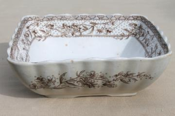 antique Malta brown transferware ironstone china square bowl serving dish, Grindley Staffordshire England