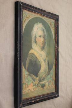antique Martha Washington print, patriotic art American centennial vintage