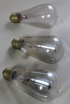 antique Mazda light bulbs, hand blown w/ brass Edison bases, cage / double loop filaments