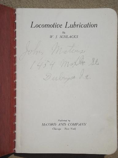 antique McCord and Company railroad locomotive lubricating handbook, dated 1911