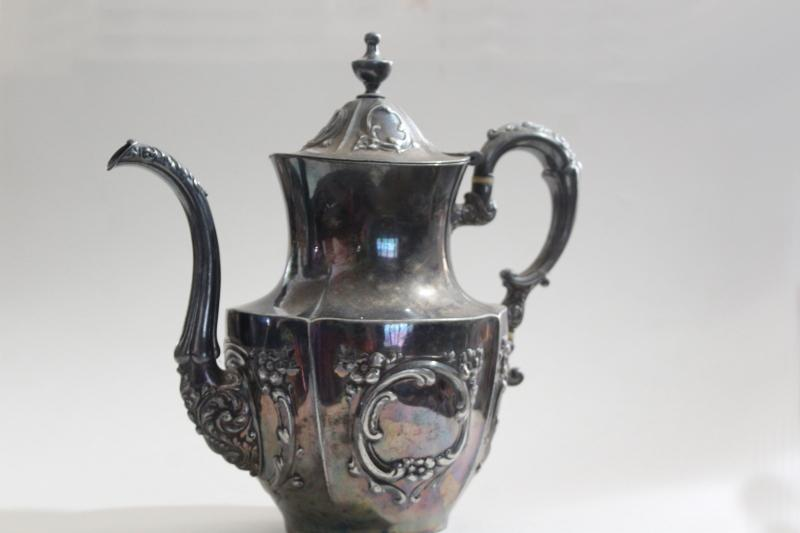 antique Meriden Britannia silver plate tea or coffee pot, UC monogram very ornate